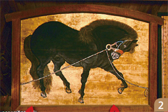 黒馬繋馬(こくばけいば)図絵馬